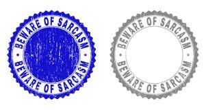 Il lerciume SI GUARDA DA delle guarnizioni del bollo graffiate SARCASMO illustrazione vettoriale