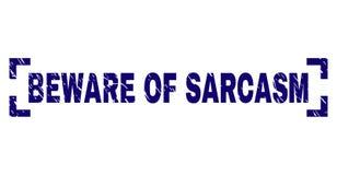 Il lerciume strutturato SI GUARDA DA della guarnizione del bollo di SARCASMO fra gli angoli illustrazione di stock