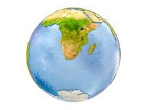 Il Lesotho sul globo isolato Fotografia Stock Libera da Diritti