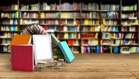 Il lettore Books del libro elettronico e la compressa 3d rendono il concep di knowlage di successo Fotografie Stock