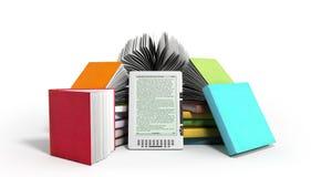 Il lettore Books del libro elettronico e la compressa 3d rendono l'immagine su bianco Immagine Stock