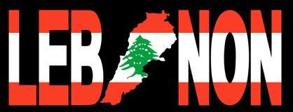 Il Libano con il programma sulla bandierina Fotografia Stock Libera da Diritti