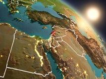Il Libano da spazio durante l'alba Immagini Stock Libere da Diritti