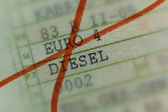 Il libretto di circolazione ha depennato con l'indicatore rosso, automobile senza valore dallo scandalo diesel in Germania, carro immagini stock libere da diritti