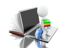 il libro aperto 3d si trasforma in un computer portatile aperto con peple bianco Fotografie Stock Libere da Diritti