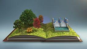 Il libro aperto fa la centrale elettrica dell'acqua, energia della diga dell'acqua, fondo grigio illustrazione vettoriale