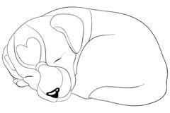 Il libro da colorare adulto, impagina un'immagine sveglia del cane per rilassarsi Illustrazione di stile di arte di zen illustrazione vettoriale