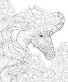 Il libro da colorare adulto, impagina un'immagine sveglia dell'unicorno per rilassarsi Illustrazione di stile di arte di zen illustrazione di stock