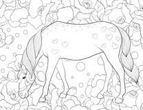 Il libro da colorare adulto, impagina un'immagine sveglia dell'unicorno per rilassarsi Illustrazione di stile di arte di zen illustrazione vettoriale