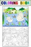 Il libro da colorare dei bambini e famiglia del fumetto di colore del cigno sulla natura Immagini Stock