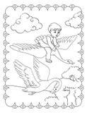 Il libro da colorare del ragazzo sta volando sul cigno illustrazione di stock