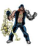 Il libro di fumetti ha illustrato il carattere del motociclista con l'arma dorata del cranio Immagine Stock Libera da Diritti