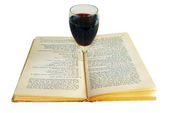 Il libro ed il vino Fotografia Stock Libera da Diritti