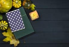 Il libro, il blocco note, le zucche e le foglie di autunno Immagine Stock