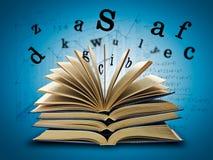 Il libro magico e le lettere Fotografia Stock Libera da Diritti