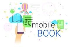 Il libro mobile e la biblioteca elettronica app sul concetto dello smartphone vector l'illustrazione Immagine Stock Libera da Diritti