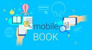 Il libro mobile e la biblioteca elettronica app sul concetto dello smartphone vector l'illustrazione Fotografia Stock