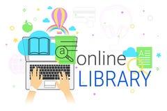 Il libro online e la biblioteca elettronica app sul concetto creativo del computer portatile vector l'illustrazione Immagini Stock