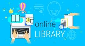 Il libro online e la biblioteca elettronica app sul concetto creativo del computer portatile vector l'illustrazione Immagine Stock Libera da Diritti