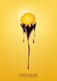 Il limone affettato ha immerso in cioccolato fondente di fusione, la frutta, il concetto di ricetta della fonduta, trasparente, i Immagine Stock Libera da Diritti