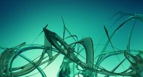 Il liquido astratto blu e verde ondeggia 3D reso Fotografia Stock