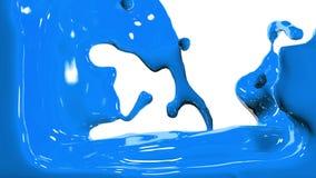 Il liquido opaco blu riempie lo schermo, isolato su HD pieno bianco stock footage