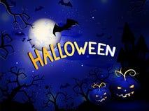 Il llustration di Halloween di vettore con le zucche si dirige, fortifica e manda un sms a Immagini Stock Libere da Diritti