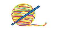 Il logo astratto di lavora all'uncinetto illustrazione di stock