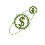Il logo concettuale del sistema finanziario globale, symbo unico di vettore illustrazione di stock