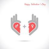 Il logo creativo dell'estratto di forma del cuore e della mano progetta Symbo giusto della mano Fotografie Stock Libere da Diritti