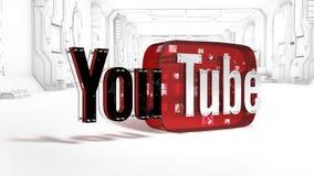 Il logo 3D della marca Youtube Fotografia Stock Libera da Diritti
