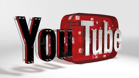 Il logo 3D della marca Youtube fotografie stock libere da diritti