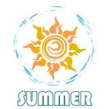 Il logo del sole con testo Immagini Stock Libere da Diritti
