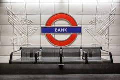 Stazione della metropolitana Londra della Banca Fotografie Stock