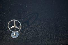 Il logo della stella di Mercedes Benz sta su sul cappuccio bagnato dell'automobile in rugiada di mattina Immagini Stock