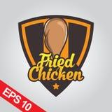 Il logo di Fried Chicken, ha fissato il logo del pollo Immagini Stock Libere da Diritti