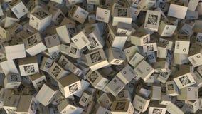 Il logo di HOME DEPOT sui cartoni accatastati Rappresentazione editoriale 3D illustrazione di stock