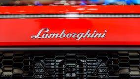 Il logo di Lamborghini Huracan LP 580-2 immagini stock libere da diritti