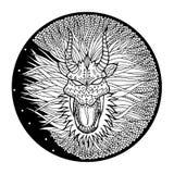Il logo di simbolo del segno del drago, circonda la forma rotonda, vettore disegnato a mano Fotografia Stock Libera da Diritti