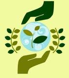Il logo, emblema di conservazione della natura, l'ecologia, prende la cura della natura, mani umane protegge la natura fotografie stock