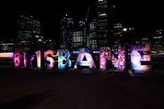Il logo luminoso del carattere, Brisbane fotografia stock libera da diritti