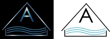 Il logo minimalista per lo stagno scherma il logo dell'acqua Fotografia Stock
