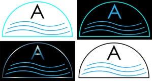 Il logo minimalista per lo stagno scherma il logo dell'acqua Immagine Stock Libera da Diritti