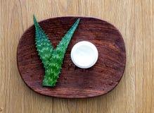 Il logo naturale ha progettato con aloe d'idratazione vera per la crema di fronte Fotografia Stock Libera da Diritti