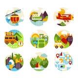 Il logo naturale piano del cerchio ha messo con i vari paesaggi, il Mountain View ed i tipi differenti di veicoli intrattenimento illustrazione vettoriale