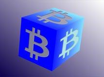 Il logo per Bitcoin ha collegato l'affare sul cubo - smussato Fotografia Stock