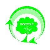 Il logo ricicla, illustrazione di vettore delle icone dell'albero Immagini Stock Libere da Diritti