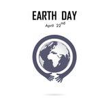 Il logo umano di vettore dell'icona del globo e della mano progetta il modello Giorno di terra illustrazione vettoriale