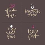 Il logos dell'etichetta dell'alimento di vettore scritto mano mette - egg il grasso Fotografia Stock Libera da Diritti