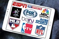 Il logos della TV mette in mostra i canali e le reti Fotografie Stock